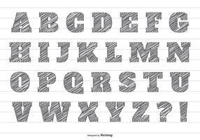 Alfabeto di vettore di matita scarabocchio