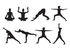 Vettore della siluetta di yoga della donna