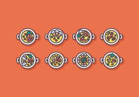 Set di icone vettoriali paella