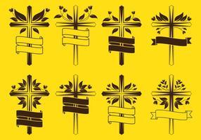 Croci pasquali con decorazioni floreali vettore