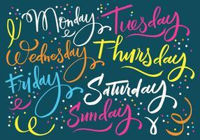 Lettering dei giorni della settimana vettore