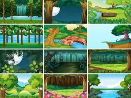 set di scene di natura paesaggio vuoto