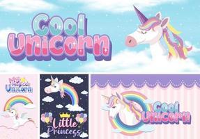 banner di unicorno carino su sfondo pastello