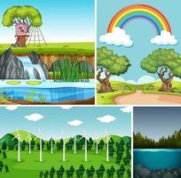quattro diverse scene in ambiente naturale