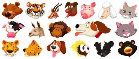 set di teste di animali diversi dei cartoni animati