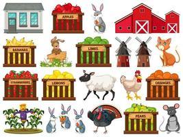 grande set di oggetti della fattoria