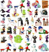 set di personaggi dei cartoni animati fantasy