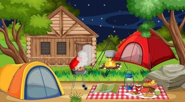 campeggio o picnic nel parco naturale vettore