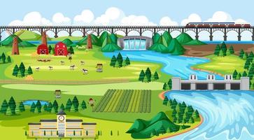paese di campagna, scuola, ponte e diga