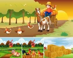 set di diverse scene di fattoria con fattoria degli animali vettore