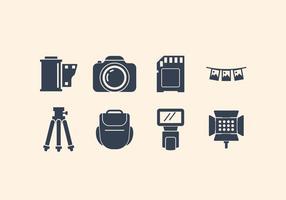 Insieme dell'icona di fotografia e della macchina fotografica vettore