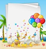 modello di carta con animali in tema di festa vettore