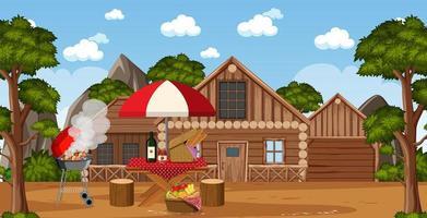 scena di picnic con cibo sul tavolo e barbecue vettore