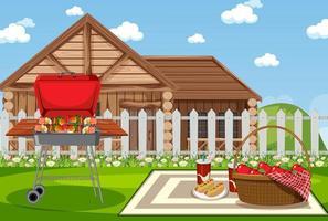 scena di picnic con barbecue in giardino vettore