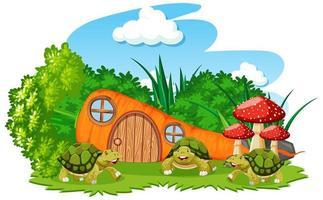casa di carote con tre tartarughe in stile cartone animato