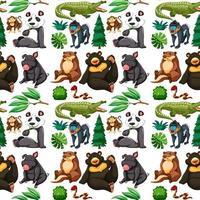 animali selvatici e alberi senza cuciture vettore
