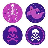 grafica di ossa e fantasmi con teschio di halloween viola vettore
