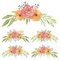 set di fiori ad acquerello dipinto a mano rosso e arancione