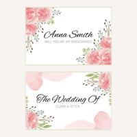 modello di carta damigella d'onore matrimonio floreale rosa acquerello vettore