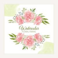 cornice floreale dell'acquerello con garofano in fiore rosa