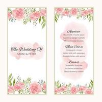 modello di carta menu matrimonio floreale dell'acquerello vettore