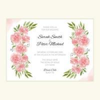 modello di invito a nozze con bouquet di fiori ad acquerello vettore