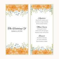modello di carta del menu con cornice fiore dorato dell'acquerello