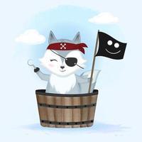 simpatica volpe pirata in un secchio di legno vettore