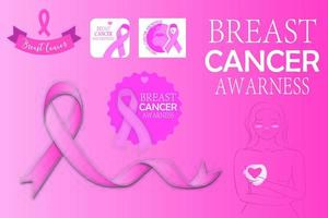 pacchetto grafico ottobre mese di consapevolezza del cancro al seno