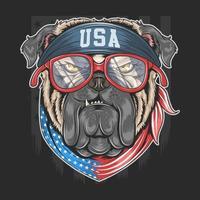 bulldog con bandana bandiera usa vettore