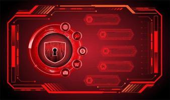 circuito binario futuro tech rosso hud vettore