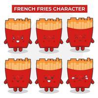simpatici personaggi di patatine fritte impostati vettore