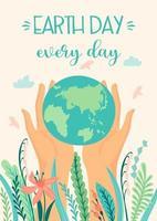 poster della giornata della terra salva la natura vettore