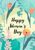 carta della giornata internazionale della donna con fiori vettore
