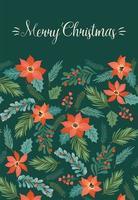 carino modello floreale biglietto di auguri di Natale vettore