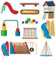 set di parco giochi per bambini nel parco isolato vettore