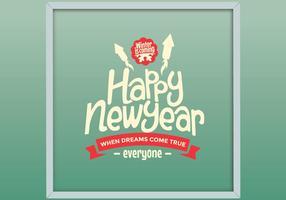 Vettore felice anno nuovo con cornice
