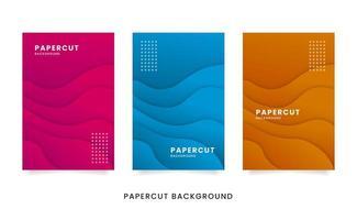 set di carte papercut ondulato astratto vettore