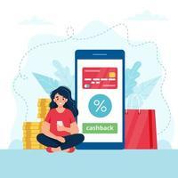 donna con il concetto di cashback dello smartphone vettore