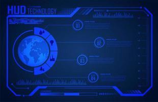 circuito binario tecnologia del futuro mondo blu hud vettore