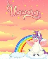 banner con unicorno carino in cielo vettore