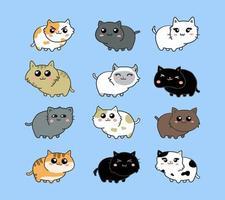 gatti con varie espressioni impostate vettore
