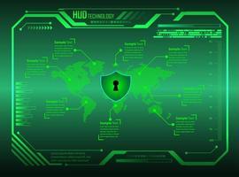 sfondo tecnologia futura del circuito binario verde vettore