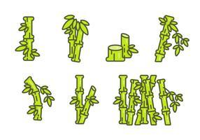 Set di icone di bambù vettoriale