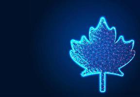 foglia d'acero canadese, design astratto low poly