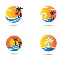 set logo spiaggia al tramonto vettore