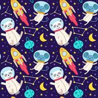 Fondo senza cuciture degli animali dell'astronauta vettore