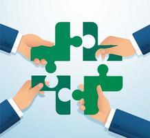 persone che mettono insieme l'icona del puzzle madical vettore