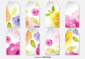 Etichette di primavera bianco decorato - etichette vettoriale con fiori
