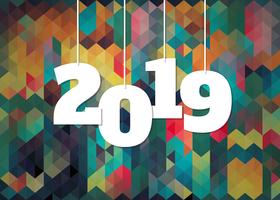 Sfondo colorato per la celebrazione del nuovo anno 2019